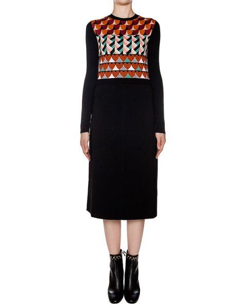 платье приталенного кроя из мягкой шерсти с геометрическим рисунком артикул LR3KD0D9 марки Valentino Red купить за 44600 руб.