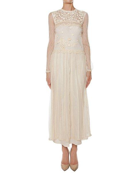 платье в пол, с верхом из полупрозрачной ткани с вышивкой артикул LR3VA03L марки Valentino Red купить за 80400 руб.