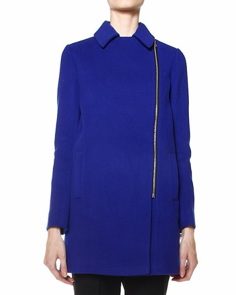 пальто однобортное, с застежкой-молнией и отложным воротником артикул LUSI430003 марки P.A.R.O.S.H. купить за 18600 руб.