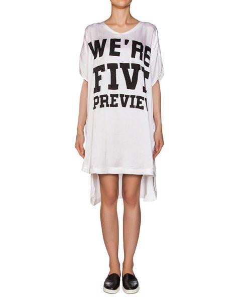 платье свободного кроя с удлиненной спиной; из легкого шелка с принтом артикул M127 марки 5Preview купить за 13800 руб.