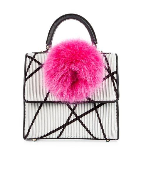 сумка из натуральной рифленой кожи, декорирована помпоном артикул MABN-TS2/V10 марки Les petits joueurs купить за 80000 руб.