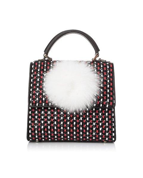 сумка из разноцветной плетеной кожи, дополнена помпоном из меха лисы артикул MABNIT294 марки Les petits joueurs купить за 73000 руб.