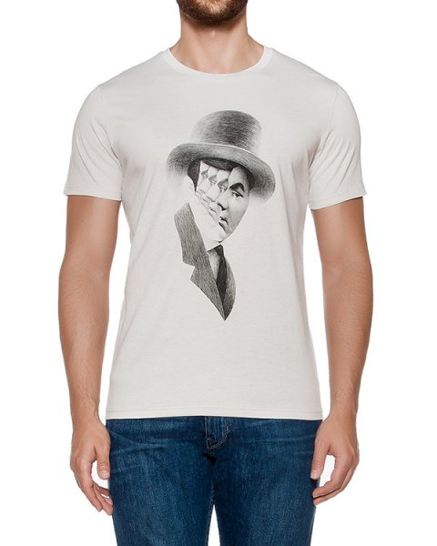 футболка из хлопкового трикотажа с принтом артикул MAFF0007 марки Tee Library купить за 4200 руб.