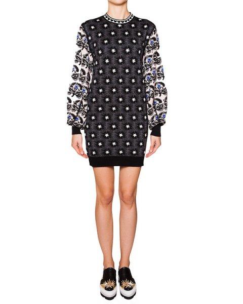 платье свободного кроя из мягкой шерсти крупной вязки с рисунком артикул MDA104 марки MSGM купить за 18800 руб.