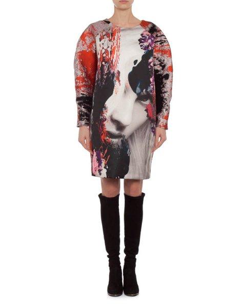 платье объемного футуристичного силуэта с ярким принтом артикул MDA138 марки MSGM купить за 23400 руб.