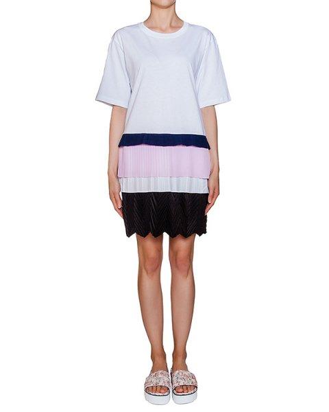 платье из хлопкового трикотажа с многослойной цветной юбкой артикул MDA161X марки MSGM купить за 21400 руб.
