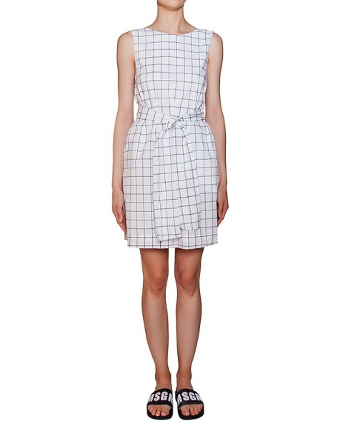 платье из тонкого хлопка в полоску с поясом артикул MDA187-01 марки MSGM купить за 11100 руб.