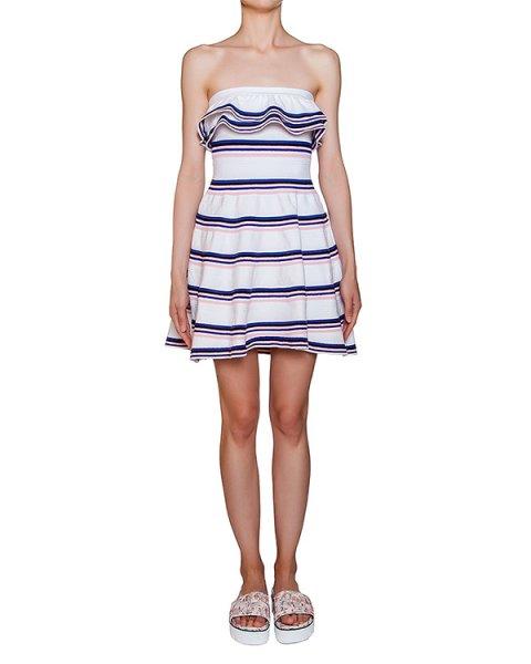 платье из трикотажа в полоску с объемными оборками артикул MDA192 марки MSGM купить за 39100 руб.