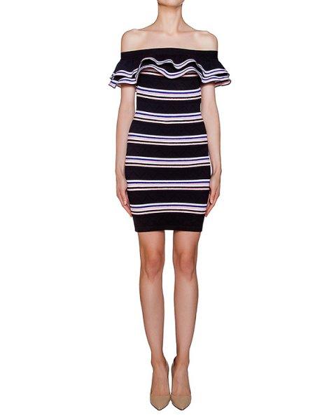 платье из трикотажа в полоску с объемными оборками артикул MDA193 марки MSGM купить за 33200 руб.