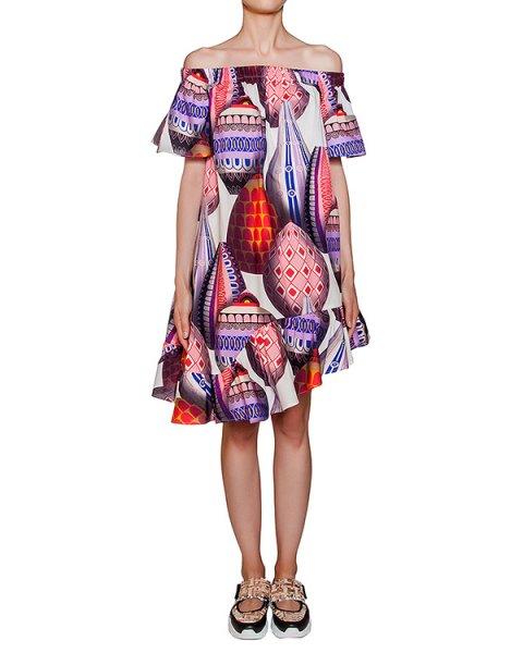 платье свободного асимметричного кроя из легкого хлопка с ярким рисунком артикул MDA216-02 марки MSGM купить за 22800 руб.