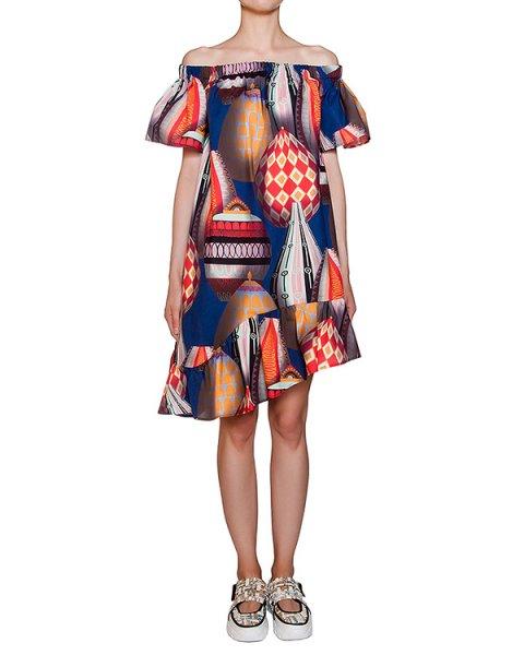 платье свободного асимметричного кроя из легкого хлопка с ярким рисунком артикул MDA216-89 марки MSGM купить за 22800 руб.