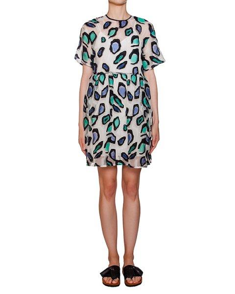 платье из полупрозрачной органзы с вышивкой артикул MDA249 марки MSGM купить за 26200 руб.
