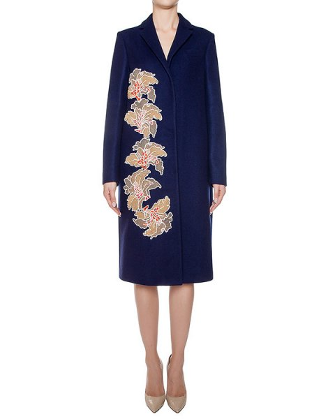 пальто из плотной шерсти, декорировано вышивкой из пайеток артикул MDC40X марки MSGM купить за 80300 руб.