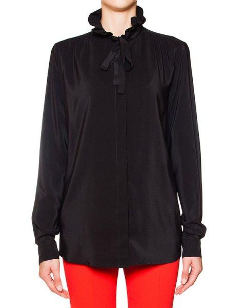 блуза из шелка с завязками и оборками на воротнике артикул MDE116 марки MSGM купить за 12500 руб.