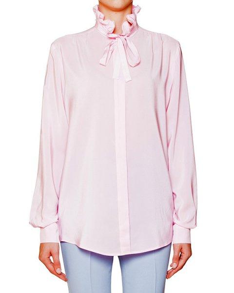 блуза из шелка с завязками и оборками на воротнике артикул MDE116 марки MSGM купить за 13900 руб.