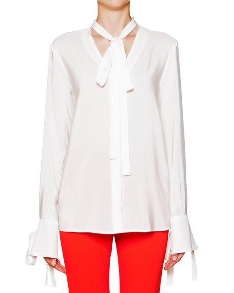 блуза из шелка с длинными завязками артикул MDE117 марки MSGM купить за 13900 руб.