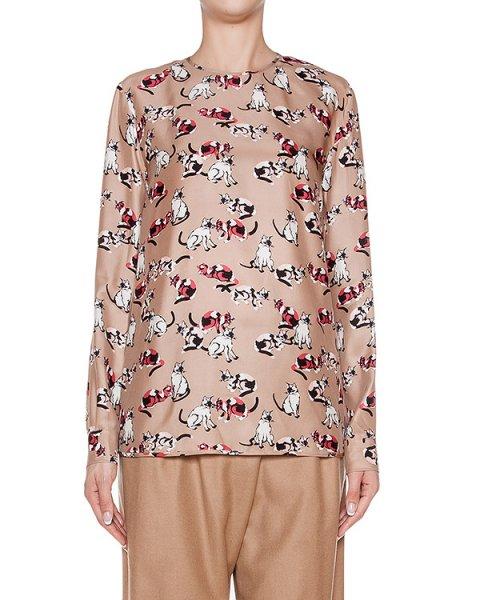 блуза из тонкого шелка с принтом артикул MDM102M марки MSGM купить за 34000 руб.