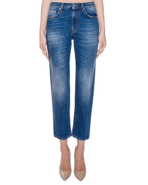 джинсы укороченные, дополнены съемной меховой деталью артикул MDP09L марки MSGM купить за 24900 руб.