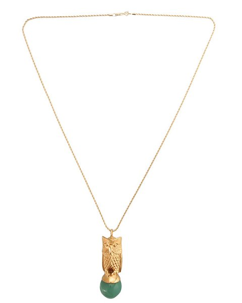 подвеска в виде совы, как символа мудрости, украшена шаром из камня авантюрина; металл с покрытием из золота артикул MID13 марки MIDGARD купить за 20000 руб.
