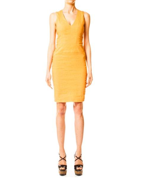 платье футляр льняное с V-образным вырезом артикул N2A02T марки EMPORIO ARMANI купить за 9500 руб.