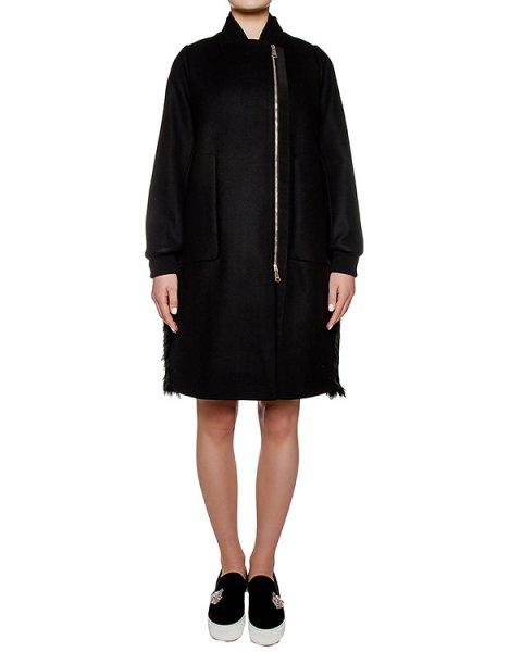 пальто из плотной шерстяной ткани,спина выполнена из стеганой ткани; дополнено вставкой из меха артикул N2MN062 марки № 21 купить за 77800 руб.