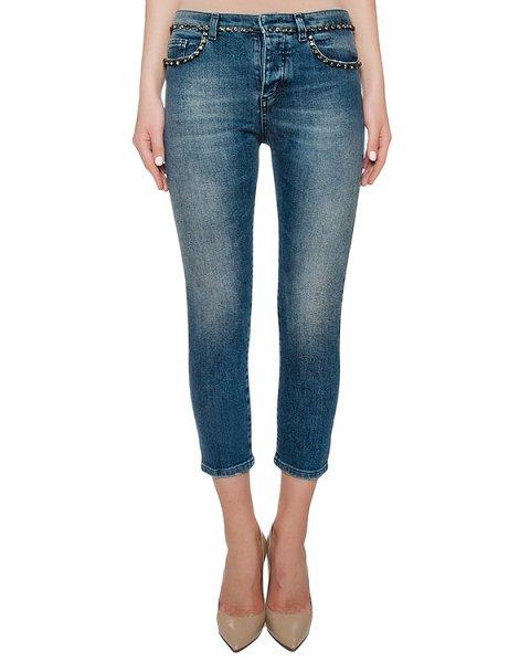 джинсы из плотного денима, украшены кристаллами артикул N2S2101 марки № 21 купить за 29000 руб.
