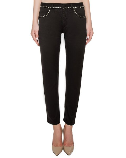 джинсы из плотного денима, украшены кристаллами артикул N2S2202 марки № 21 купить за 29000 руб.