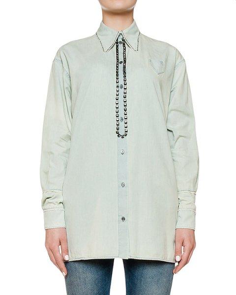 рубашка из хлопка, украшена кристаллами артикул N2SG046 марки № 21 купить за 39800 руб.