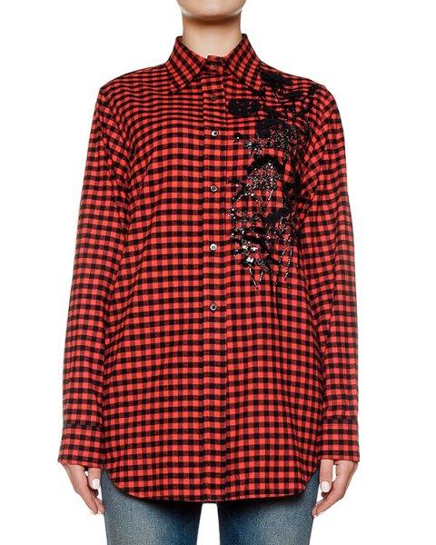 рубашка из мягкого хлопка в клетку, украшена вышивкой и пайетками артикул N2SG122 марки № 21 купить за 53000 руб.