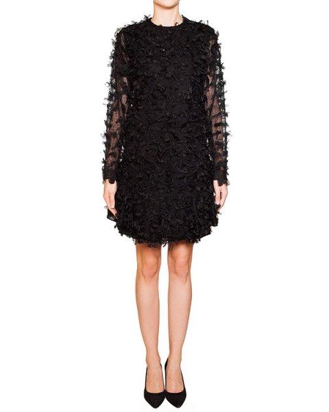платье из шелка и шерсти с полупрозрачными рукавами, спереди декорировано мелкими бантами артикул N2SH131 марки № 21 купить за 65300 руб.