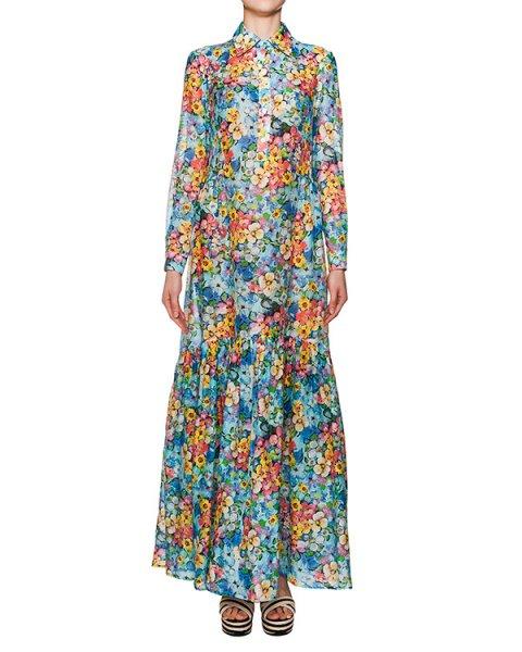 платье в пол из хлопка и шелка с ярким цветочным принтом артикул O4 марки Infinee купить за 18300 руб.