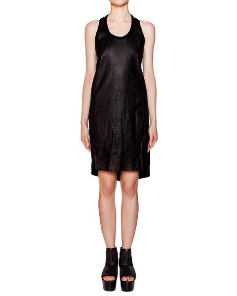 платье асимметричного кроя из натуральной кожи, дополнено вставкой из хлопка на спине артикул OBLIQUE марки Isaac Sellam купить за 45600 руб.
