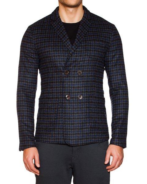 пиджак двубортный из мягкой ворсистой шерсти в клетку артикул OBW15461F152 марки Obvious Basic купить за 16700 руб.