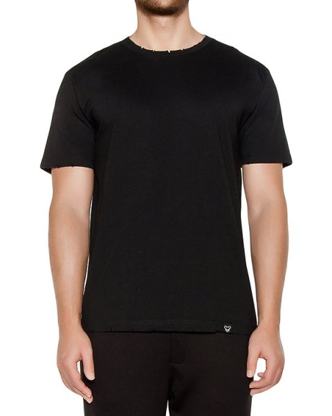 футболка из хлопкового трикотажа с надрезами на воротнике артикул OBW16261J102R марки Obvious Basic купить за 2900 руб.