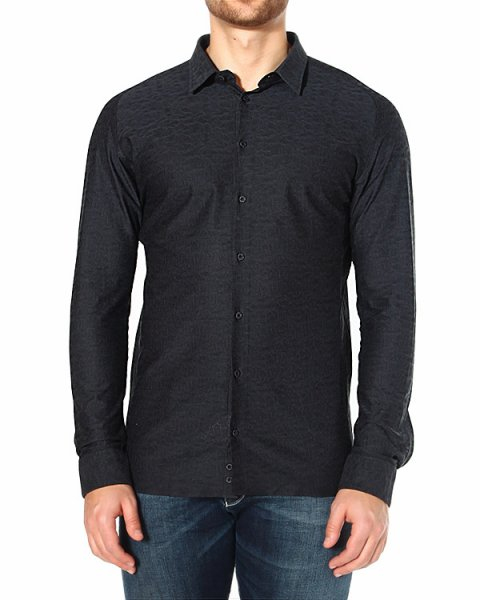 рубашка из фактурного хлопка с набивным узором артикул P1CFBT марки EMPORIO ARMANI купить за 9200 руб.