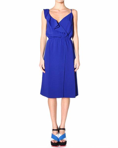платье приталенного силуэта, на тонких бретельках, с игривой рюшей по линии декольте артикул PODY720136 марки P.A.R.O.S.H. купить за 9200 руб.