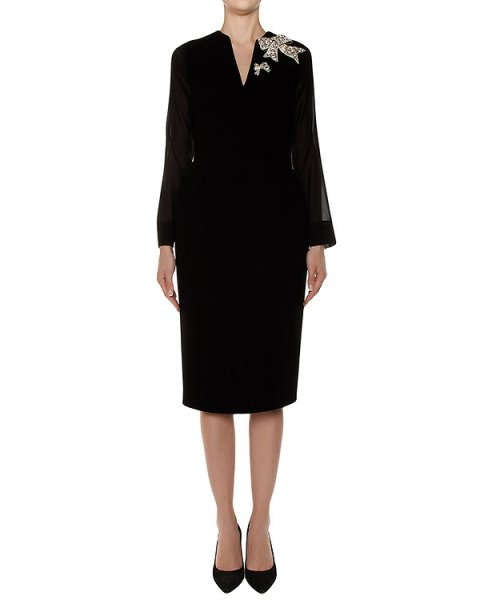 платье из шерсти с украшением на плече артикул R202 марки Dice Kayek купить за 119300 руб.