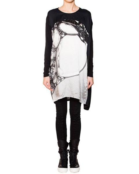 платье свободного асимметричного кроя из легкой гладкой ткани с трикотажной отделкой артикул RCAY287/19 марки ROQUE ILARIA NISTRI купить за 16500 руб.
