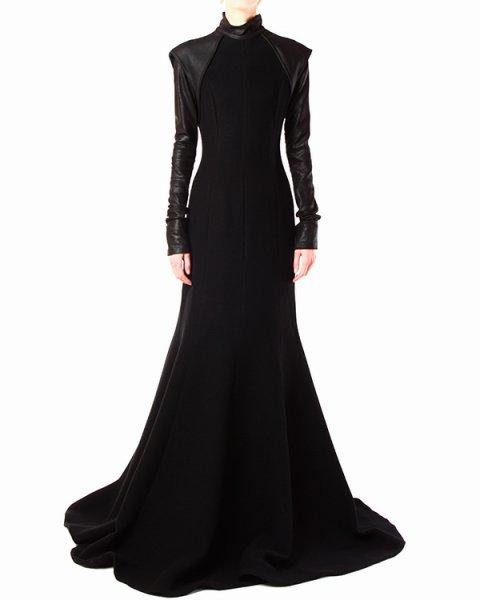 платье в пол из шерстяного трикотажа с отделкой из натуральной кожи артикул PH13F05004 марки GARETH PUGH купить за 53100 руб.