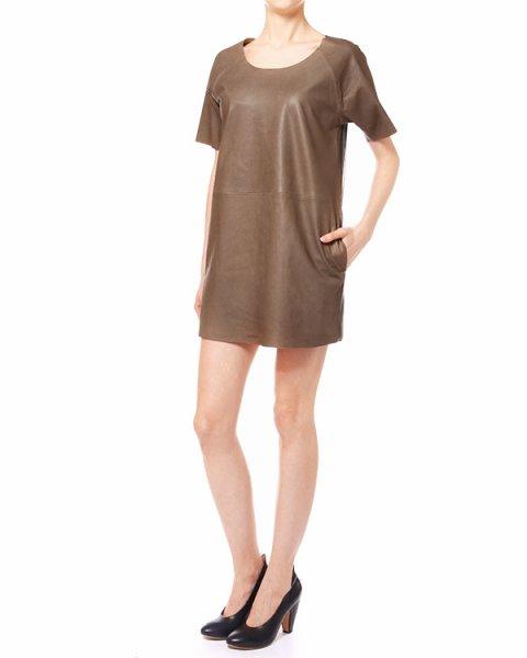 платье из натуральной кожи, на спине вставка из перфорированной ткани артикул S13083891 марки Hache купить за 25600 руб.