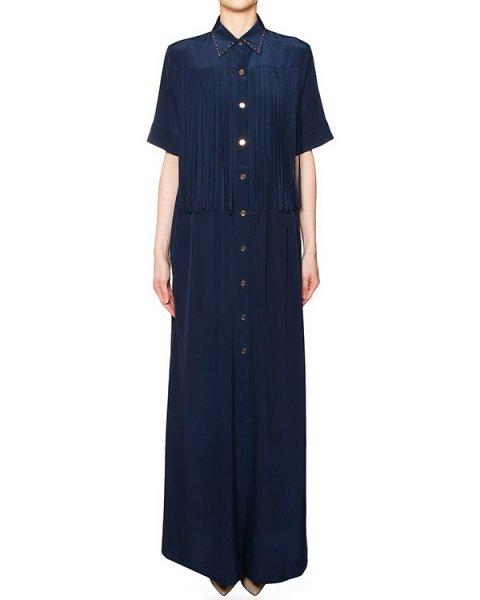 платье в пол свободного кроя, выполнено из легкого шелка, декорировано складками артикул S16MAB306CDCT марки Marcobologna купить за 49400 руб.