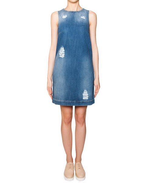 платье из плотного денима с потертостями артикул S16MAB336ARC марки Marcobologna купить за 12200 руб.