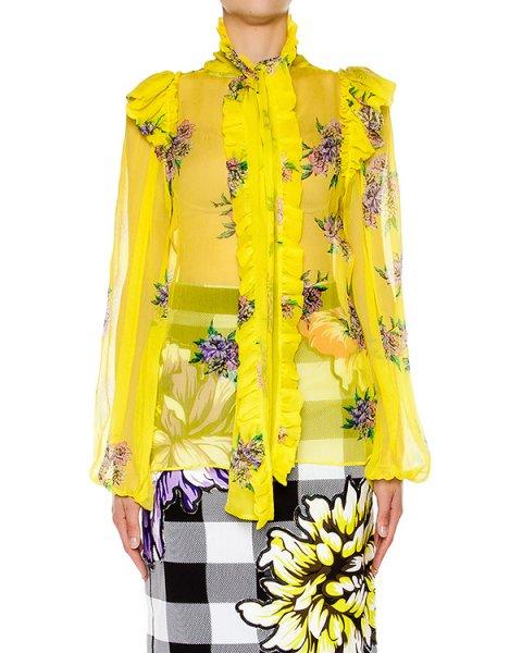 блуза из легкого полупрозрачного шелка с цветочным принтом артикул S16MSH374CRS марки Marcobologna купить за 24100 руб.
