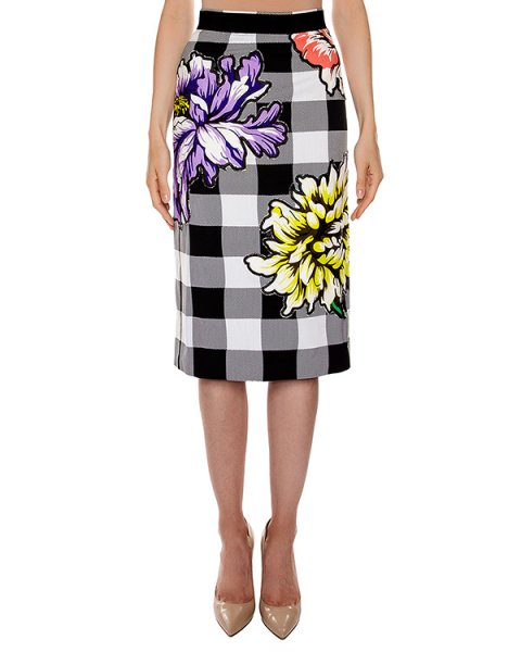 юбка карандаш из хлопка в клетку с цветочной вышивкой артикул S16MSK304JAQ марки Marcobologna купить за 58200 руб.