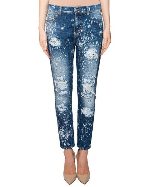 джинсы зауженного кроя декорированы кристаллами из горного хрусталя артикул S16MTR331JAT марки Marcobologna купить за 39000 руб.