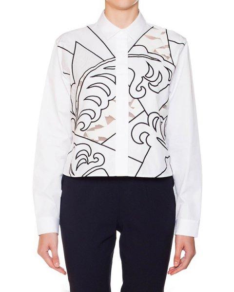 рубашка укороченного кроя из плотного хлопка, декориована фигурной вышивкой артикул S44DL0152 марки VIKTOR & ROLF купить за 32200 руб.