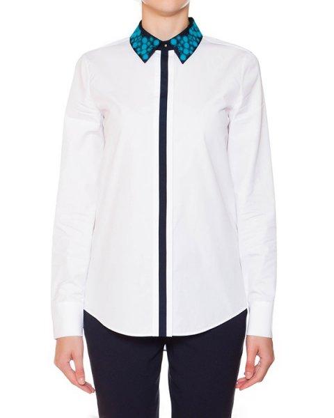 рубашка из плотного хлопка с контрастным кантом и ярким воротничком артикул S44DL0153 марки VIKTOR & ROLF купить за 17800 руб.
