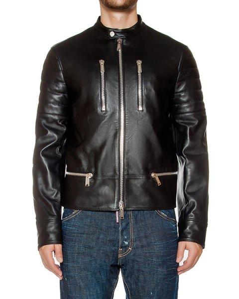 куртка из плотной натуральной кожи артикул S71AM0767 марки DSQUARED купить за 151800 руб.