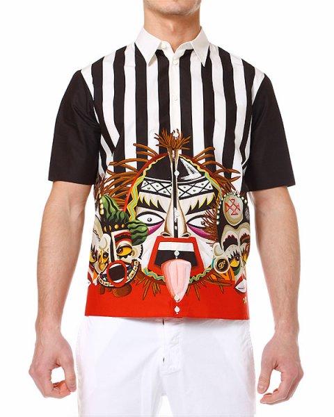 рубашка с масками тики, как элементами яркого принта артикул S71DL0705 марки DSQUARED купить за 14100 руб.
