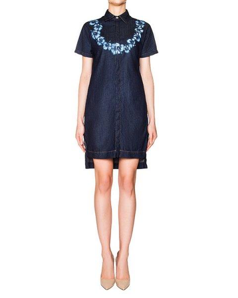платье из тонкого денима с цветочным принтом артикул S72CU0272 марки DSQUARED купить за 58100 руб.